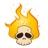 Flaming Skull Cartoon. Cartoon drawing of a human skull with flames Royalty Free Stock Image
