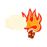 Flaming skull cartoon. Retro cartoon with texture. Isolated on White Stock Photos