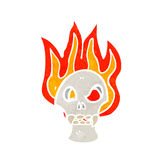 Flaming skull cartoon. Retro cartoon with texture. Isolated on White Royalty Free Stock Image