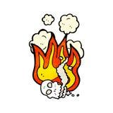Flaming skull cartoon. Retro cartoon with texture. Isolated on White Royalty Free Stock Photography