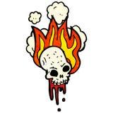 Flaming skull cartoon. Retro cartoon with texture. Isolated on White Stock Image