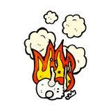 Flaming skull cartoon. Retro cartoon with texture. Isolated on White Stock Photography
