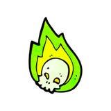Flaming skull cartoon. Retro cartoon with texture. Isolated on White Stock Photo