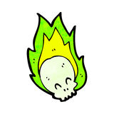 Flaming skull cartoon. Retro cartoon with texture. Isolated on White Royalty Free Stock Photos
