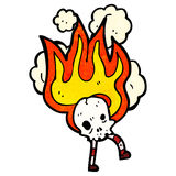 Flaming skull cartoon character Royalty Free Stock Photos