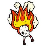 Flaming skull cartoon character. Retro cartoon with texture. Isolated on White Royalty Free Stock Photos
