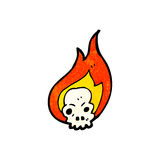 Flaming skull cartoon symbol. Retro cartoon with texture. Isolated on White Royalty Free Stock Images
