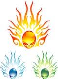 Flaming Skull Design Set Stock Photos