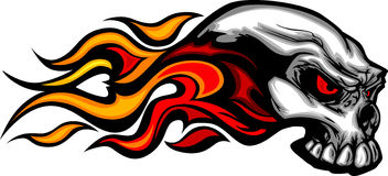 Flaming Skull Graphic Image. Skull on Fire with Flames Illustration Stock Images