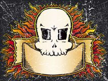 Flaming skull grunge Stock Photo