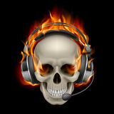 Flaming Skull with headphones. Illustration on black background Stock Photo