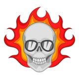 Flaming skull icon, cartoon style. Flaming skull icon. Cartoon illustration of flaming skull vector icon for web Royalty Free Stock Image