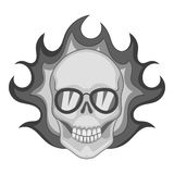 Flaming skull icon monochrome. Flaming skull icon in monochrome style isolated on white background vector illustration Royalty Free Stock Image