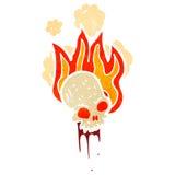 Flaming skull retro cartoon. Retro cartoon with texture. Isolated on White Royalty Free Stock Photography