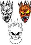 Flaming Skulls. Set of flaming skulls.  Useful for t-shirt design or tattoos Stock Photography