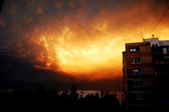 Flaming sky. A burning sky filled with orange clouds above the city Stock Images