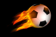 Flaming Soccer Ball. Black and White Flaming Soccer Ball over black background Royalty Free Stock Photography