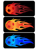 Flaming Soccer Ball. Set of flaming soccer balls in 3 different colors. Design available n vector with organized layers Stock Photo