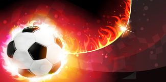 Flaming soccer ball. On a burning background Stock Photography