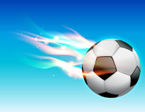 Flaming Soccer Ball in Sky. A flaming soccer ball flying in the sky. Vector EPS 10. available EPS file contains transparencies and gradient mesh Stock Photo