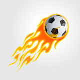 Flaming soccer ball. Vector illustration of burning soccer ball on  light gray background Royalty Free Stock Images