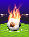Flaming Soccer Football Background. An illustration of a flaming soccer ball and stadium. Vector EPS 10 available. EPS contains transparencies and gradient mesh Royalty Free Stock Photos