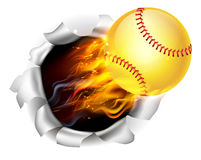 Flaming Softball Ball Tearing a Hole in the Background. An illustration of a burning flaming yellow Softball ball on fire tearing a hole in the background vector illustration