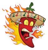 Flaming Sombrero Chili Pepper royalty free illustration