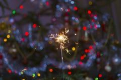 Flaming sparkler Stock Photo