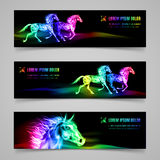 Flaming speed. Set of banners with horses in multicolored flame Royalty Free Stock Photography