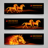 Flaming speed. Set of banners with horses in orange flame Stock Images