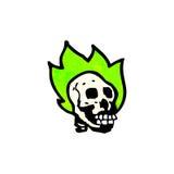 Flaming spooky skull cartoon. Retro cartoon with texture. Isolated on White Royalty Free Stock Photo