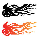 Flaming Sport Bike Motorcycle Logo. Hot looking flaming sportbike motorcycle logo, clean lines, in black and color Royalty Free Stock Photo
