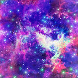 Flaming Star Nebula. Abstract space background with bright star nebula Stock Photo