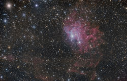 Flaming Star Nebula in the constellation Auriga. Flaming Star Nebula (IC 405) in the constellation Auriga stock photography