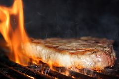 Flaming Steak Royalty Free Stock Image