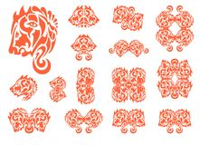 Flaming stylized lion head symbols Royalty Free Stock Photo