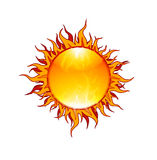 The Flaming Sun. A bright, bold, fun illustration of the sun with flaming tongs of fire vector illustration