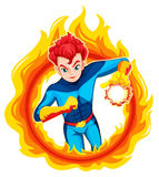 A flaming superhero. Illustration of a flaming superhero on a white background Royalty Free Stock Photo