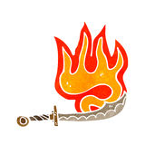Flaming sword retro cartoon Stock Images