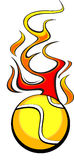 Flaming Tennis Ball. Illustrated Vector Tennis Ball Design with Flames Stock Images
