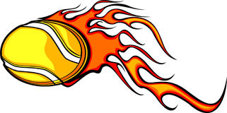 Flaming Tennis Ball. Illustrated Vector Tennis Ball Design with Flames Royalty Free Stock Photography