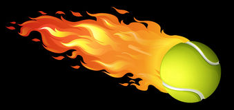 Flaming tennis ball on black Royalty Free Stock Image