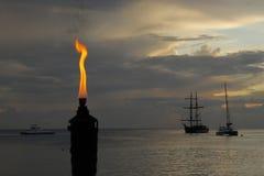 Flaming tiki torch stock photos