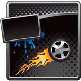 Flaming tire on black halftone advertisement Stock Images