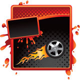 Flaming tire on red and black halftone grungy ad. Red and black halftone grungy banner with a tire on fire Stock Image