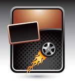 Flaming tire on a stylized bronze template. Stylized bronze banner template with a tire of fire Stock Images
