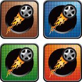 Flaming tires on multicolored web buttons Stock Image