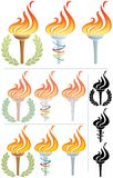 Flaming Torch. Stylized illustration of a flaming torch in 12 different versions. No transparency used. Basic (linear) gradients used in the first 3 torches royalty free illustration