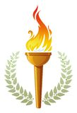 Flaming torch. And olive wreath Royalty Free Stock Photos